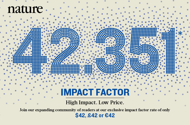 Nature. 42.351* Impact Factor. High Impact. Low Price. Join our expanding community of readers at our exclusive impact factor rate of only $42, £42 or €42.