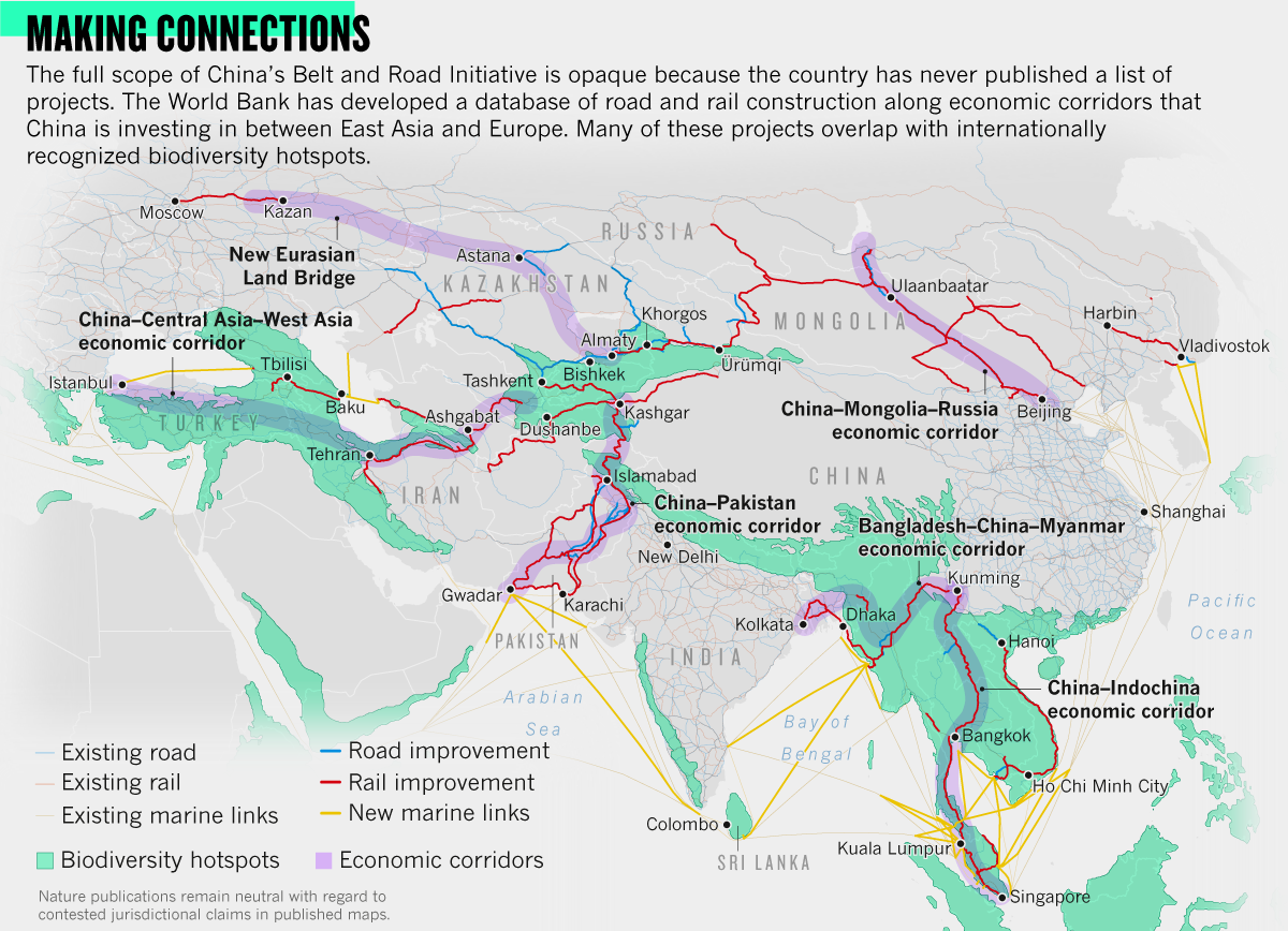 Infographic: Making connections. The full scope of China's Belt and Road Initiative is opaque because the country has never published a list of projects. The World Bank has developed a database of road and rail construction along economic corridors that China is investing in between East Asia and Europe. Many of these projects overlap with internationally recognized biodiversity hotspots.