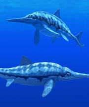 Ichthyosaurs lived while dinosaurs stalked<newline/> the Earth.