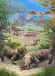 This artist's impression shows how the metre-long mammals might have looked.