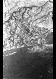 This unprocessed image taken while Huygens fell towards Titan shows channels carved by flowing liquids, and looks like a river delta.