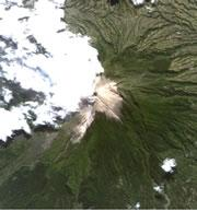 Merapi caught in mid-eruption on 16 May by the Japan Aerospace Exploration Agency's Daichi land observing satellite.