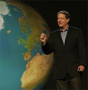 Al Gore points to a warming world.