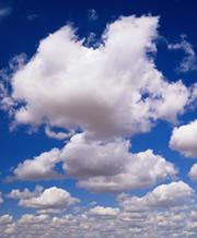 Clouds appear smaller when viewed straight on than when looked at askance.