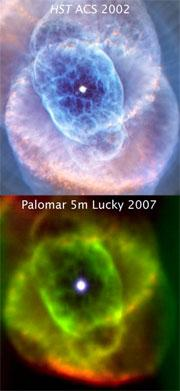 The Cat's Eye Nebula, snapped by Hubble (top) and the Lucky camera (bottom)