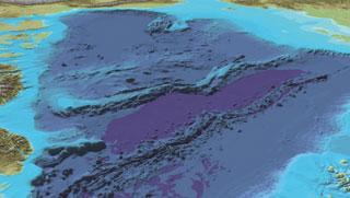 A bathymetric map of the sea floor of the Arctic Ocean reveals the Lomonosov ridge running between Greenland (lower left) and Russia (upper right).