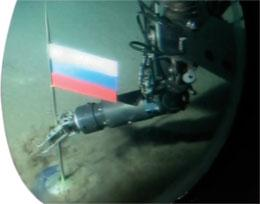 Russia's Mir-1 submersible planted a flag on the sea floor beneath the North Pole in August 2007.