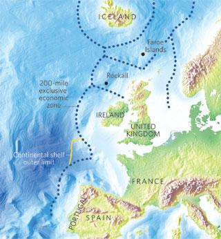The Bay of Biscay (left-hand picture) has been subject to a joint extended-shelf claim by France, Spain, the United Kingdom and Ireland.