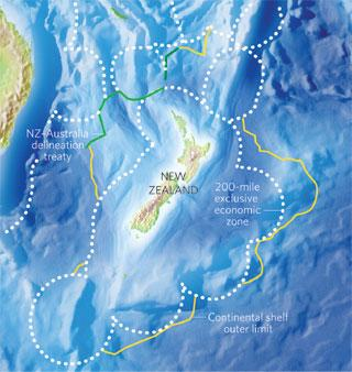 New Zealand (right-hand picture) covers only about 270,000 square kilometres, but its claim on areas beyond its exclusive economic zone could see it have access to 6 million square kilometres of sea floor.