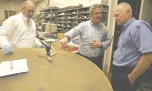 Dave Hilyard, Jerry Nelson and Eric Williams (left to right) work on the Thirty-Meter Telescope.