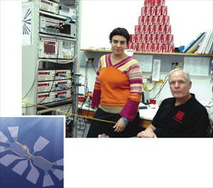 Merav Dolev (above left), Moty Heiblum and an artists impression of the quantum Hall device (left) in which they measured even fractional charges.