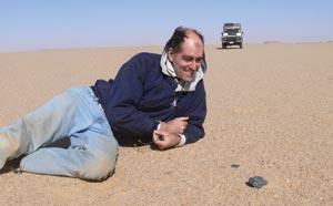 Peter Jenniskens (above) led the search for meteorite fragments in the Sudan desert (inset).