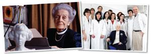 Levi-Montalcini has published 21 popular books and continues to work at her namesake brain research institute in Italy (right).