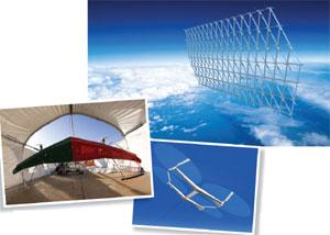Different ways to tap the winds aloft: JoeBen Bevirt's vision of a turbine array flying 10,000 metres above Earth's surface (right); Makani Power's prototype wing demonstrates its hovering abilities (below); the Sky Windpower concept (below, right); Makan