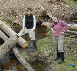 Jennifer Tank (left) and Emma Rosi-Marshall study stream ecology.