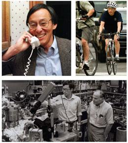 Clockwise from top left: the Nobel call, biking to work this year and time at Bell Labs.