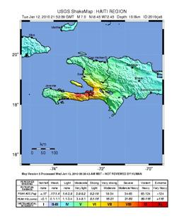 Shakemap for Haiti earthquake