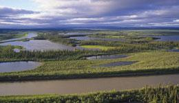 The Younger Dryas flood 13,000 years ago could have emptied into the Arctic Ocean through the Mackenzie River delta (above).