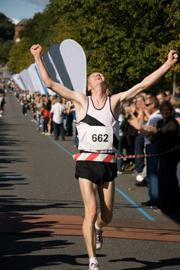 Runner winning a marathon