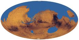 Reconstruction of the putative Martian ocean that would have covered one third of the planet