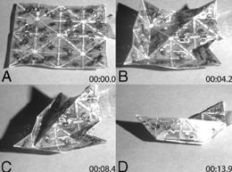 Auto-origami: Programmerbart papper viker sig själv till en båt.