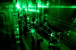 Part of the laser facility needed for the experiment for the determination of the radius of the proton.