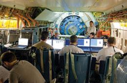 Scientists test SOFIA's 2.5-metre telescope inside the Boeing 747.