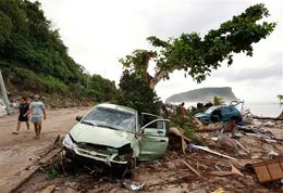 Tsunami damage outside Apia in Samoa on Wednesday Sept. 30, 2009.