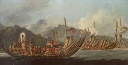 'Review of the War Galleys at Tahiti' oil on panel by William Hodges. Dated 1776