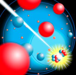 Computer artwork of nuclear, or atomic, fission (splitting).