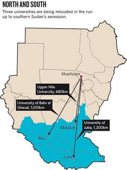 Map of Sudan with university locations and moves