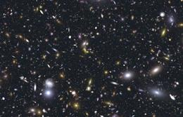 A simulated deep-field image of galaxies like those the James Webb Space Telescope might observe.