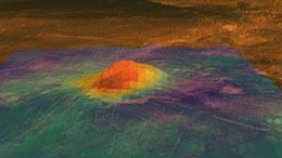 The volcano Idunn Mons shows up as a hot spot in this thermal map taken by the Venus Express probe.