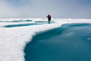 A researcher ventures off the coast of Alaska to measure the thickness of sea ice earlier this summer.