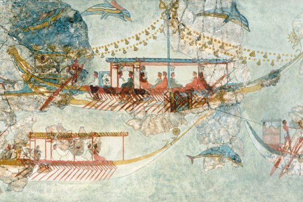 The Minoans were pioneers in long-distance ocean travel, as seen in this sixteenth-century BC wall mural from the Greek island of Santorini, which depicts Minoan ships. But much about that Bronze Age civilization remains poorly known