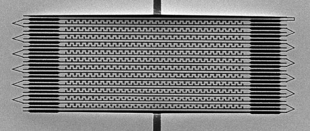Metamaterial elements etched from gold and silicon allow this structure to rapidly alter its ability to transmit or reflect light.