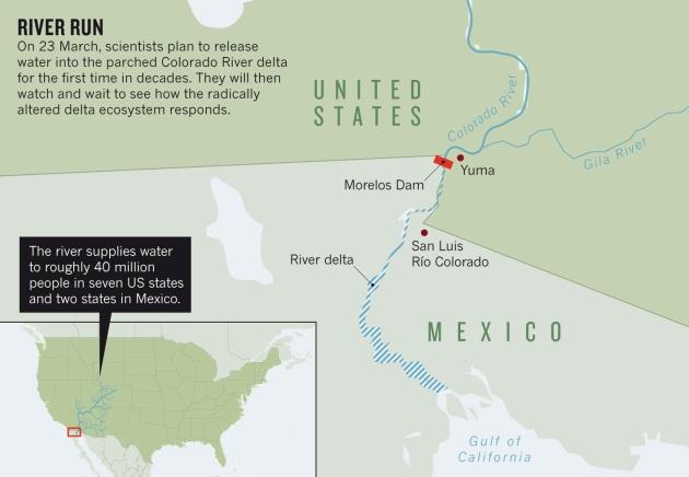 Water Returns To Arid Colorado River Delta Nature News Comment - Calorado river us map