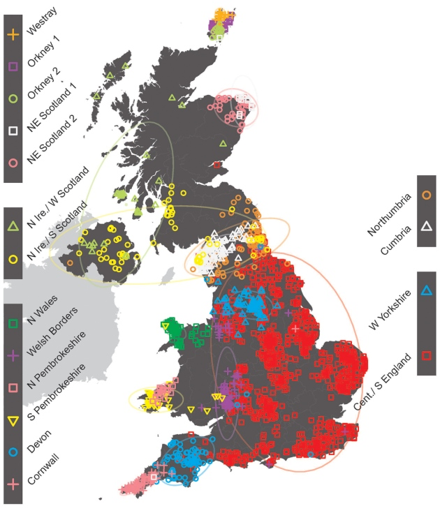 Full Map Of England.Uk Mapped Out By Genetic Ancestry Nature News Comment