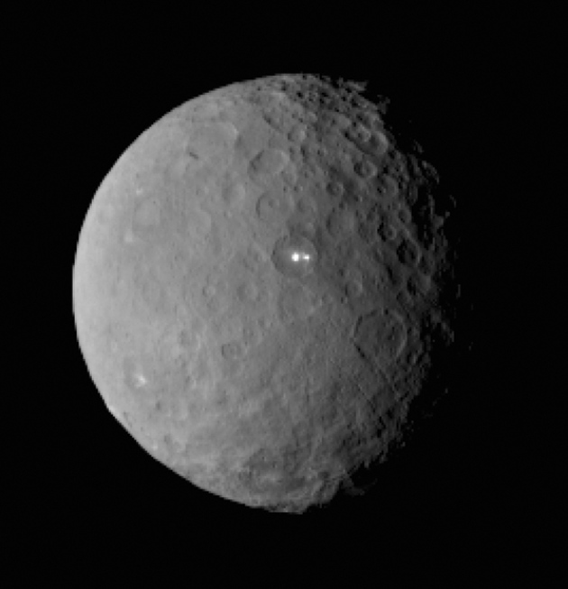 The Dawn spacecraft captured this image of Ceres' twin bright spots on 19 February.