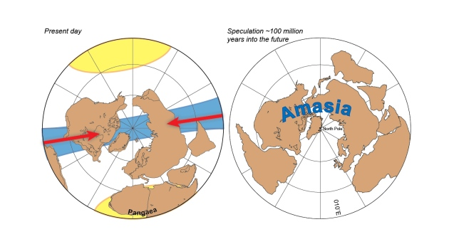 The current continents (left) are set one day to merge into the supercontinent Amasia (right), centred over the Arctic.