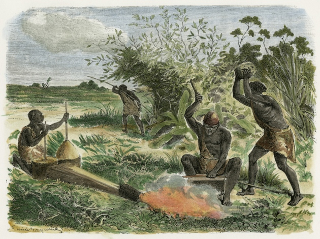 Sketch of Bantu people smelting iron.
