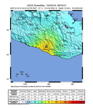 Shake map of 20 march Mexico earthquake