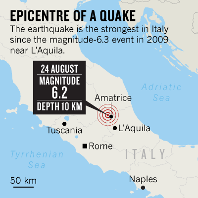 Terrifying shaking Deadly Italian quake strikes 40 kilometres from