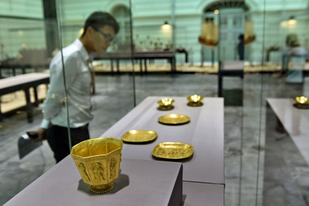Gold vessels from the Belitung wreck are shown here at the Asian Civilisations Museum in Singapore