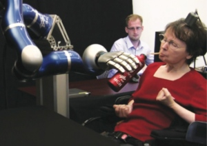 cathy moving robotic arm with thought