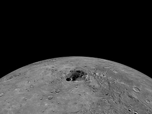 Water ice is abundant in Mercury's dark polar craters. Photo NASA/Johns Hopkins Uni Applied Phys Lab/Carnegie Inst of Washington