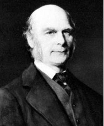 A black-and-white photograph shows the scientist Francis Galton mostly balding with cheek-length sideburns in a dark suit coat, lighter vest, dark tie, and white shirt.