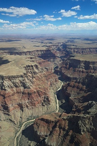 Aerial view over the north part of the Grand Canyon.