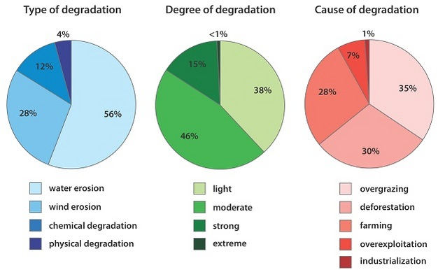 Types, degree and causes of global land degradation.