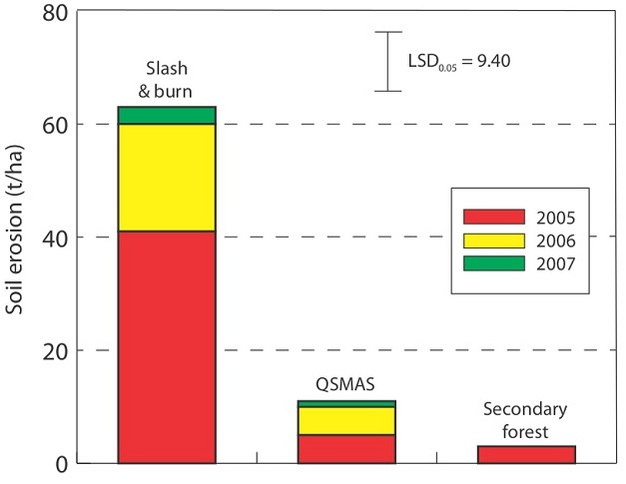 Erosion rates associated with  traditional slash and burn, the Quesungual system and secondary forest.